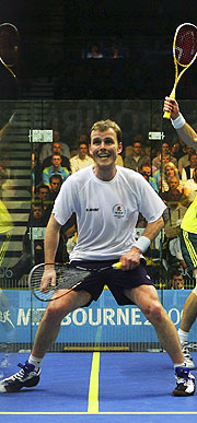 England's Peter Nicol will compete with compatriot Lee Beachill in the Men's Doubles gold medal match.