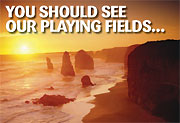 You Should See Our Playing Fields campaign image featuring the Twelve Apostles at sunset