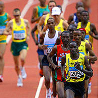The Tanzanians dominate early in the men's Marathon.