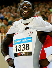 Phillips Idowu of England, after jumping to gold in the Men's Triple Jump.