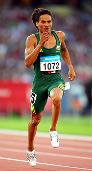 Australia's John Steffensen adds to the medal tally from the track with a win in the Men's 400m.