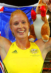 Australian Kym Howe and friend, celebrating Pole Vault gold.