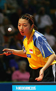 Xue Ling Zhang looking for her slice of the gold medal action.