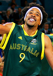 CJ Bruton of Australia celebrates winning Commonwealth gold.