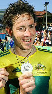 Australian cyclist Ben Day celebrating his silver medal in the Men's Time Trial earlier in the Games.