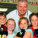 Andrew Gaze with students from Clifton Hill Primary School