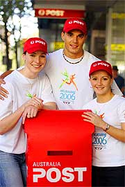 Australian athletes Giaan Rooney, Josh Ross and Loudy Tourky celebrate Australia Post's Letter Link.