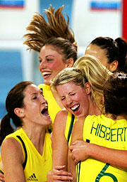 The jubilant Opals celebrate Basketball gold.
