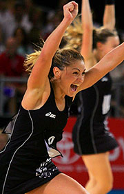 Temepara George of New Zealand celebrates winning Netball gold.